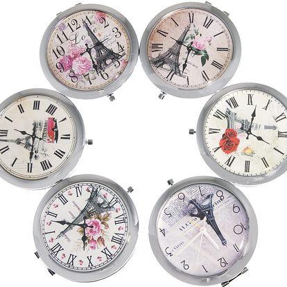 Kapesní kosmetické zrcátko Paris s hodinkami kovové