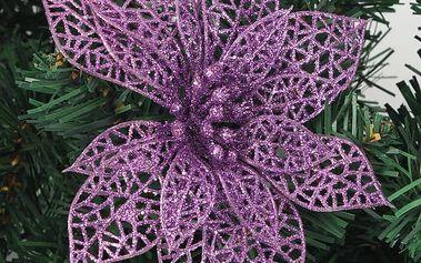 Umělá dekorace - květ Vánoční hvězdy - fialová - dodání do 2 dnů