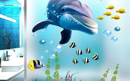 Samolepka na zeď - podmořský svět s delfínem