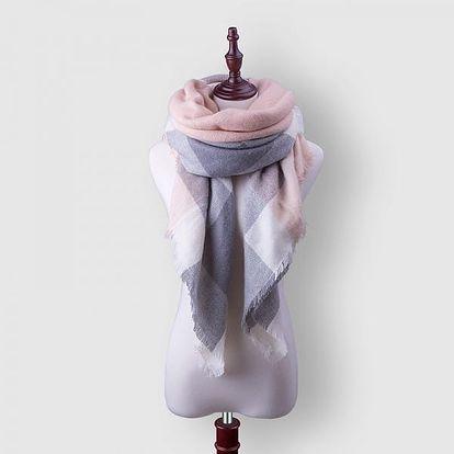 Tenký kostkovaný šátek v růžovošedé barvě - dodání do 2 dnů