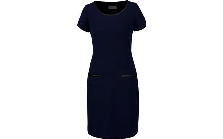 Tmavě modré šaty s koženkovými detaily Lavand
