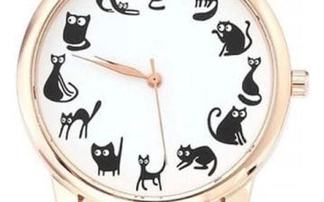 Dámské hodinky s černými kočičkami - dodání do 2 dnů