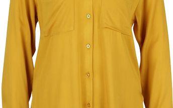 Hořčicová dlouhá košile s kapsami Alchymi Saroma