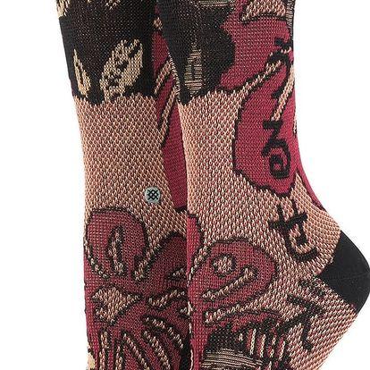 Černo-vínové dámské ponožky s květovaným motivem Stance Lotus Japan