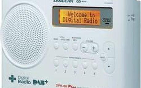 DAB+ rádio Sangean DPR-69+, FM, aku, bílá