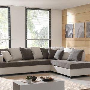Rohová sedačka Poros pravý roh (syntetická kůže/bílá,šedá)