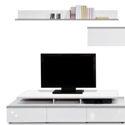 Linea - obývací stěna 2677158 (bílá/bílá lak HG/stříbrná)