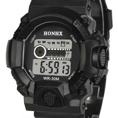 Pánské digitální hodinky se stopkami - černá - dodání do 2 dnů