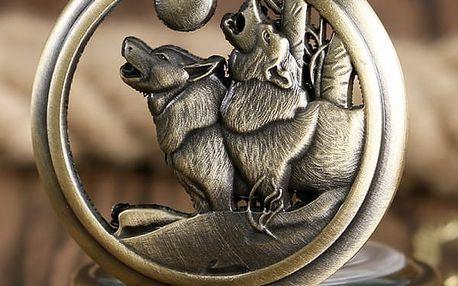 Kapesní retro hodinky - Vlci vyjící na měsíc - dodání do 2 dnů