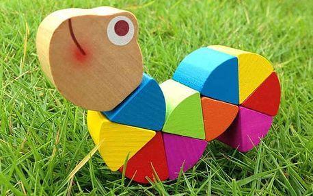 Dřevěné puzzle pro děti - Housenka a krokodýl