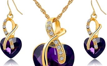 Sada šperků s kamínkem v podobě srdce