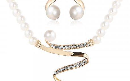 Elegantní náhrdelník s náušnicemi s perlami