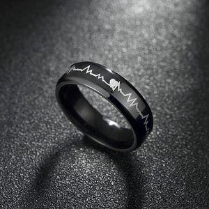 Unisex prsten s křivkou EKG