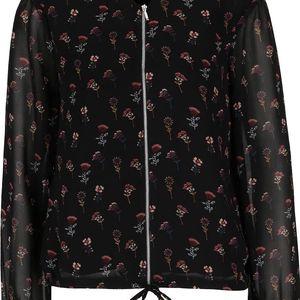 Černý bomber s květinovým motivem a průsvitnými rukávy Vero Moda