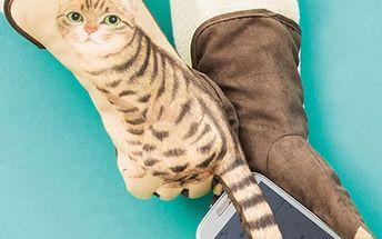 Dámské rukavice na dotykový displej s kočičkou - 3 barvy