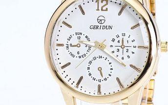 Elegantní unisex hodinky ve zlaté barvě - 3 barvy ciferníku