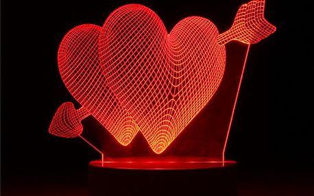 3D lampička - srdce se šípem