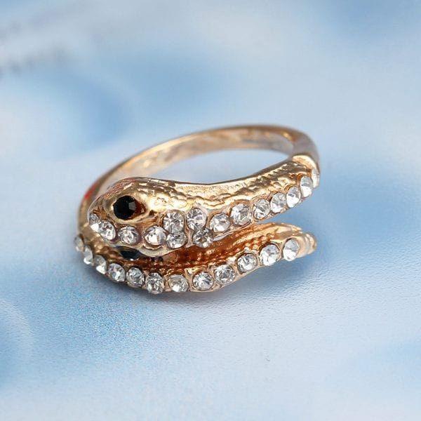 Had - prsten s kamínky - zlatá barva - dodání do 2 dnů