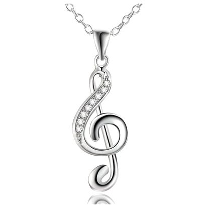 Náhrdelník s přívěskem houslového klíče ve stříbrné barvě