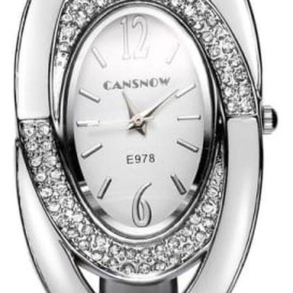 Dámské kovové hodinky s oválným ciferníkem a kamínky