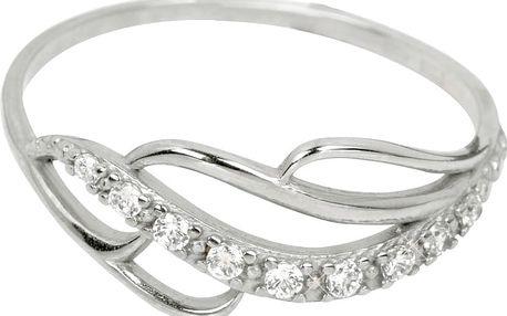 Brilio Prsten z bílého zlata s krystaly 1,30 g 229 001 00624 07 55 mm