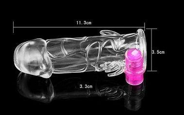 Průhledný zvětšovací návlek opatřený vibracemi, pro kvalitnější sexuální život