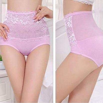 Růžové, krajkou protkané stahovací kalhotky, jenž Vám krásně vytvarují bříško i zadeček