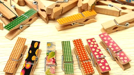 Mini dekorační dřevěné kolíčky - 50 kusů