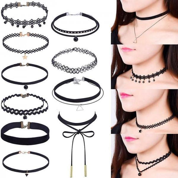 Sada 10 dívčích náhrdelníků v černé barvě - dodání do 2 dnů