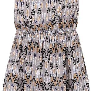 Hnědo-šedé vzorované šaty na ramínka Vero Moda Super