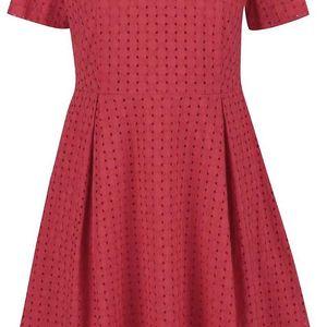 Červené perforované šaty s krátkým rukávem GANT