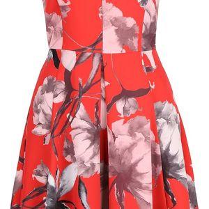 Červené květované šaty s véčkovým výstřihem Closet