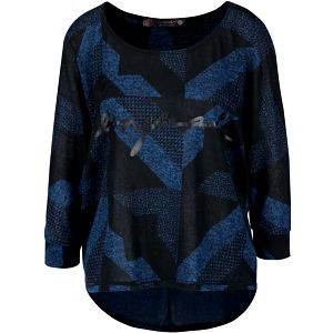 Modro-černý volnější top s geometrickými vzory Desigual Mabel