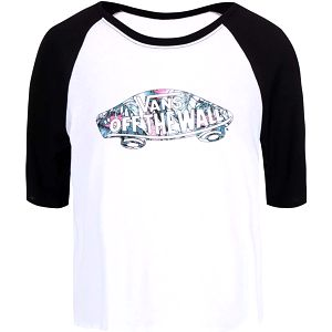 Černo-bílé dámské tričko s 3/4 rukávem Vans Tropic Skate