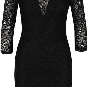 Černé krajkové šaty s 3/4 rukávy Miss Selfridge