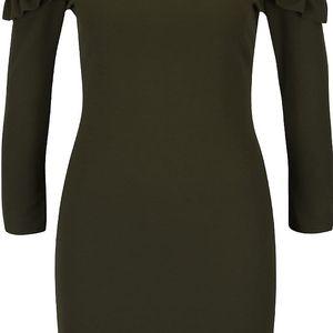 Khaki šaty s odhalenými rameny a volánky Miss Selfridge