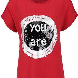 Červené tričko s flitry Desigual Bolonia