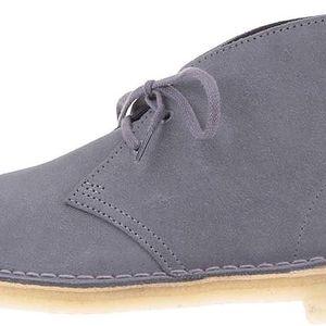 Šedé pánské kožené kotníkové boty Clarks Desert Boot