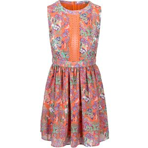 Oranžové květinové šaty bez rukávů LYDC