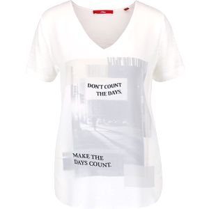 Krémové dámské tričko s potiskem s.Oliver
