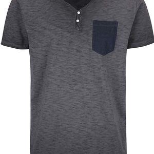 Šedé žíhané triko s náprsní kapsou Shine Original Rider