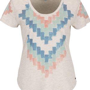 Krémové dámské žíhané tričko s potiskem Rip Curl Pucon