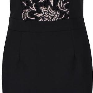 Krémovo-černé šaty s krajkovými detaily Little Mistress
