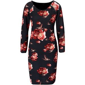 Černé květované šaty se zipy a dlouhými rukávy Smashed Lemon