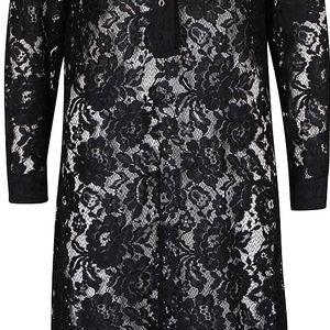 Černé krajkové průsvitné šaty s límečkem Closet