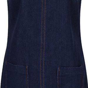 Tmavě modré džínové šaty s laclemi a kapsami Dorothy Perkins Petite