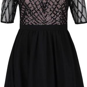 Krémovo-černé šaty s flitrovaným topem a rukávy Little Mistress