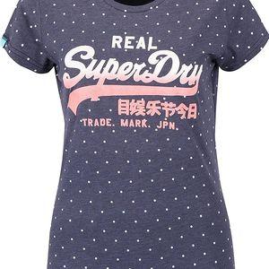 Tmavě modré dámské puntíkované tričko s potiskem Superdry