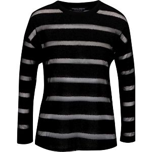 Černé tričko s průsvitnými pruhy a dlouhým rukávem Dorothy Perkins