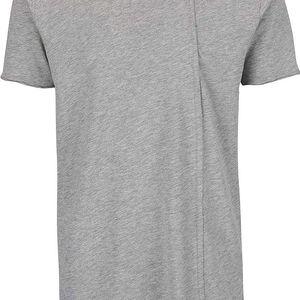 Šedé žíhané delší asymetrické tričko Shine Original Long Oversize